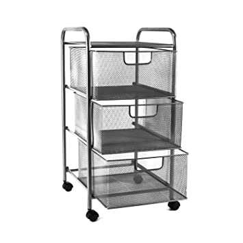 Elegant YIMU Mesh File Storage Cart With 2 Drawers, 3 Tier Letter Size Metal Office  Supply