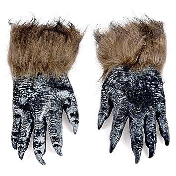 TOOGOO(R) 1 par Guantes de lobo Mascara de Halloween juego de mascaras de animales hombre-lobo mascarada lobo (Tamano: L, Color: Negro): Amazon.es: Juguetes ...