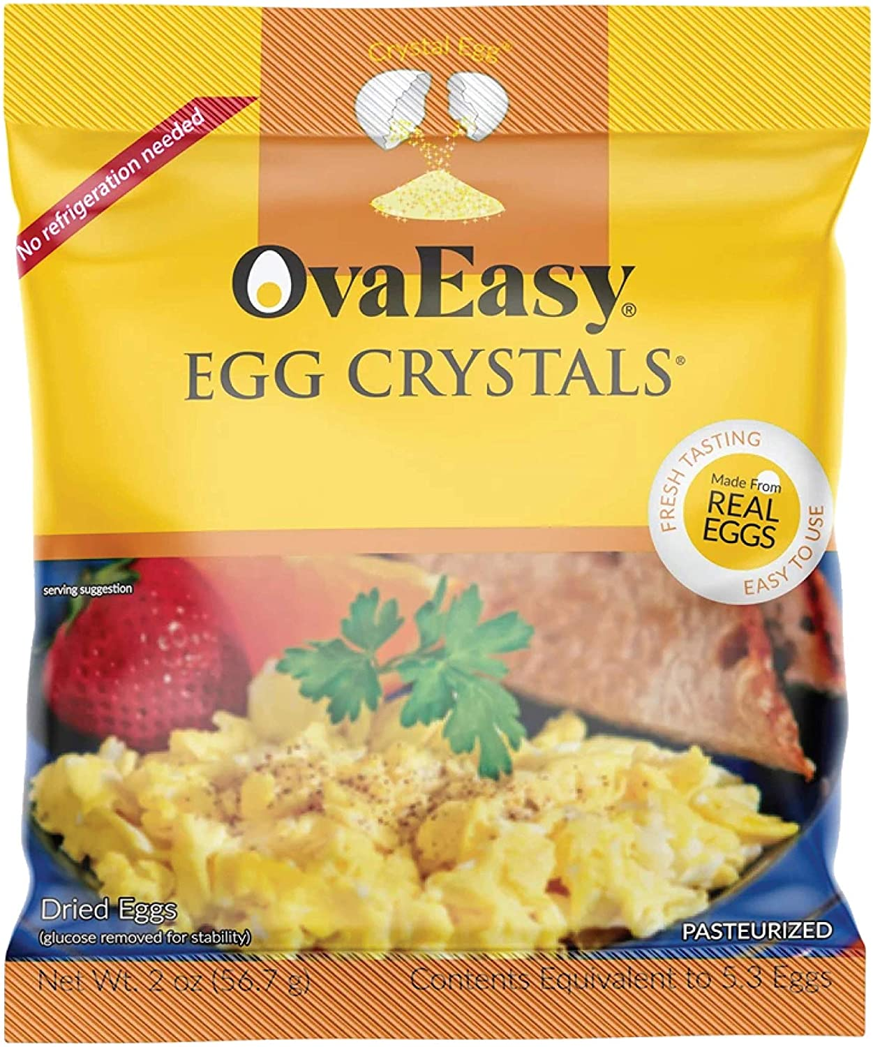 OvaEasy Whole Egg Crystals, All-Natural Powdered Eggs for Long-Term Storage, Pasteurized Egg Powder from 5 Whole Eggs (2 oz)