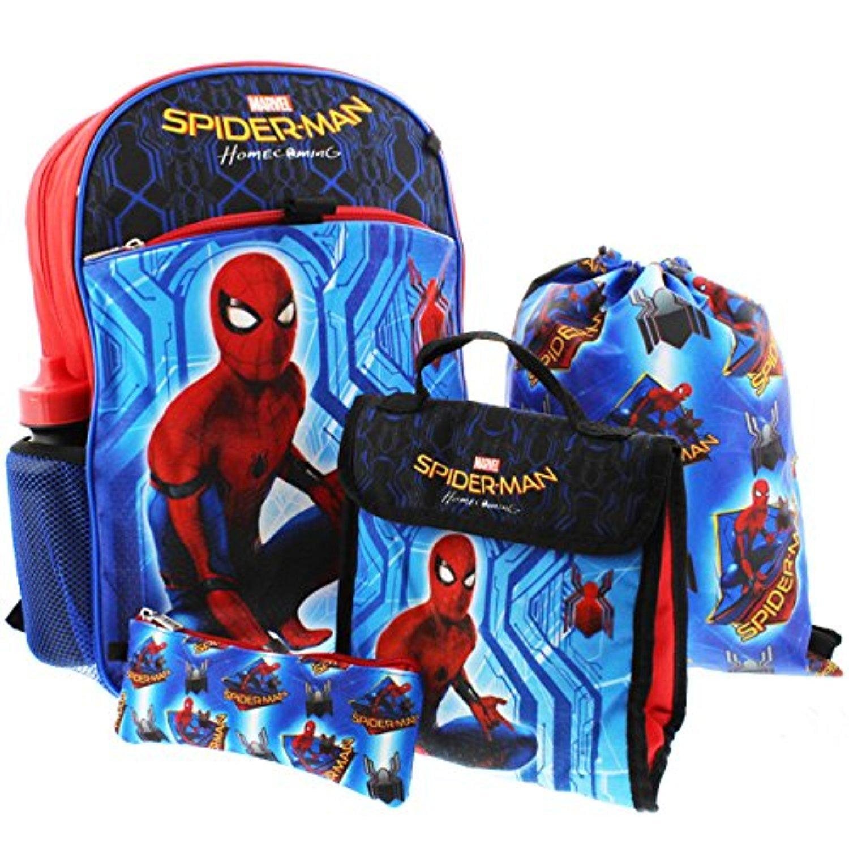 2017 SPIDER-MAN Movie BACKPACK+Lunch Kit+Sling Bag+Pencil Case SET School Book
