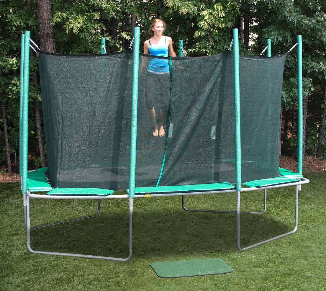 KIDWISE Magic Circle 9 Ft X 14 Ft Rectagon Trampoline with Safety Cage