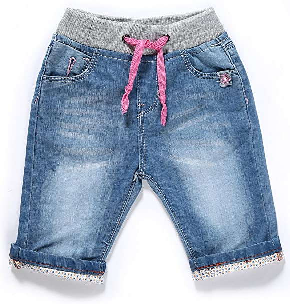 5-Kids Carters Little Girls Embroidered Denim Shorts Blue