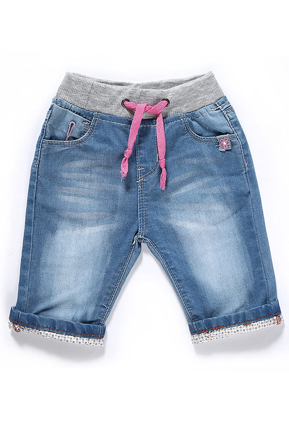 LITTLE-GUEST Baby Girls' Blue Knee-Length Jeans Shorts G205