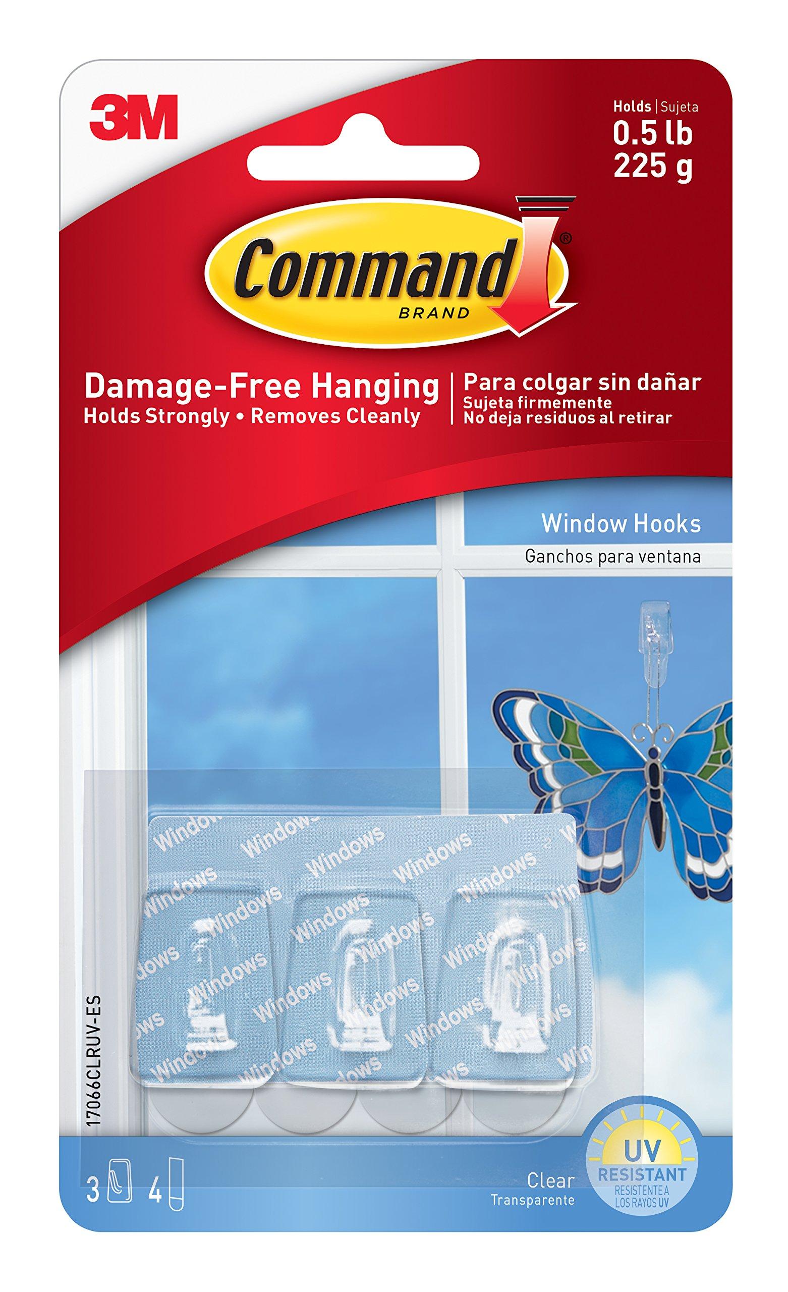 Command Window Hooks, Clear, 3-Hook, 6-Pack
