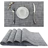 Bright Dream Plastic Outdoor Placemats Washable Stain Resistant Kitchen Table Mats 12x18 inches Set of 4 (Smoky Gray)
