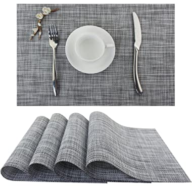 Bright Dream Plastic Outdoor Placemats Washable Stain Resistant Kitchen Table Mats 12x18 inches Set of 4(Dimgray)