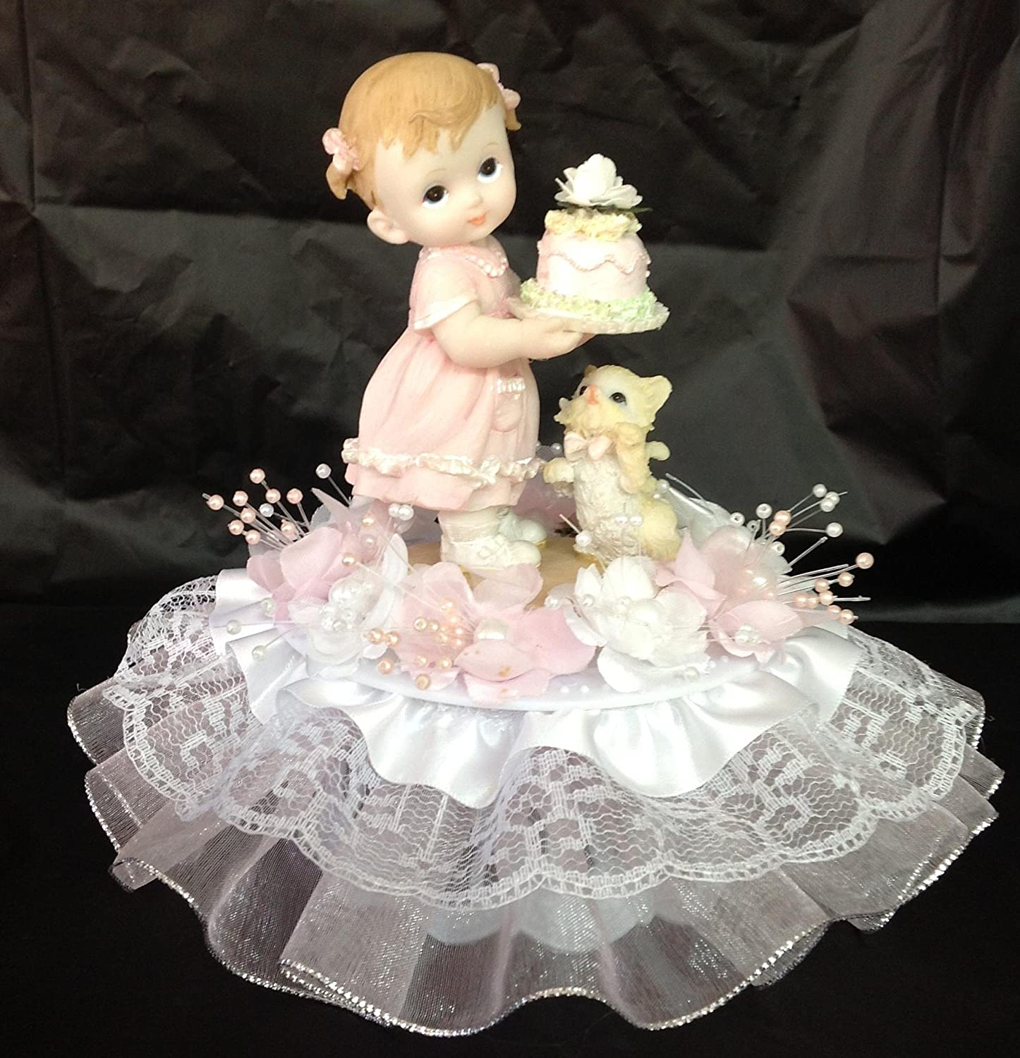 First Birthday Cake Girl.Amazon Com Baby Girl 1st First Birthday Cake Top 7 Inches
