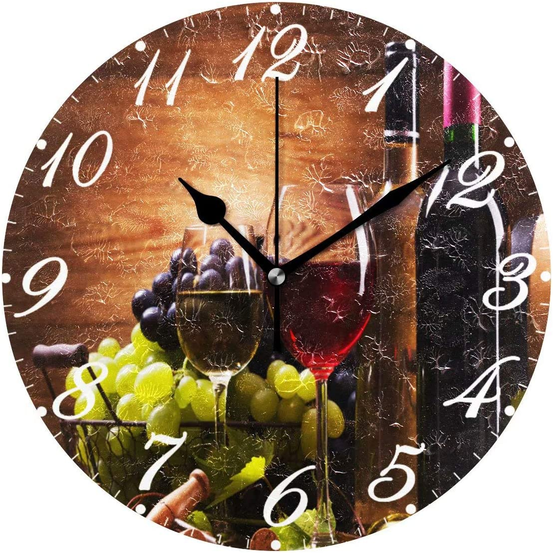Pfrewn Wooden Wine Wall Clock Silent Non Ticking Round Grape Floral Retro Clocks Battery Operated Watercolor Vintage Desk Clock 10 Inch Quartz Analog Quiet Bedroom Living Room Home Decor
