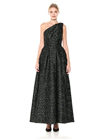 f9499137eed99e Carmen Marc Valvo Infusion Women's One Shoulder Pleated Ball Gown  W/Metaillic Threads, Hunter