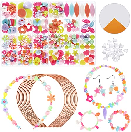WILLBOND DIY Bead Set DIY Headband Set Jewelry Making Kit Necklace Bracelet DIY Accessories, Include 10 Pieces Hair Band, 450 Pieces Colorful Bead, Elastic Rope for Kids Jewelry Toy (Spring Style)