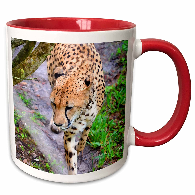 3dRose 215961/_5Cheetah By Tree Walking Painting Animal Feline Two Tone Mug 11 oz Red