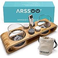 ARSSOO Whiskey Glasses & Whiskey Stones Gift Set – 2 300ML Scotch Bourbon Glasses, 4 Round Chilling Stones, 1 Ice Tong…