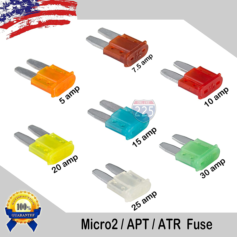 35 Pack 5-30 AMP APT ATR Micro2 Blade Fuse Car Truck Boat Marine RV 225FWY