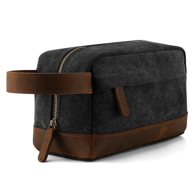 Plambag Canvas Leather Toiletry Bag Travel Dopp Kit Cosmetic Makeup Organizer(Dark Grey)