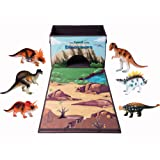 Amazon Price History for:Dinosaur Toy Chest Storage Box Organizer, 6 Bonus Figures with Kids Play Mat Playset, Birthday Party Supplies