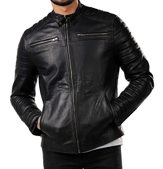 Amazon.com: Chaqueta de piel para motocicleta, color negro ...