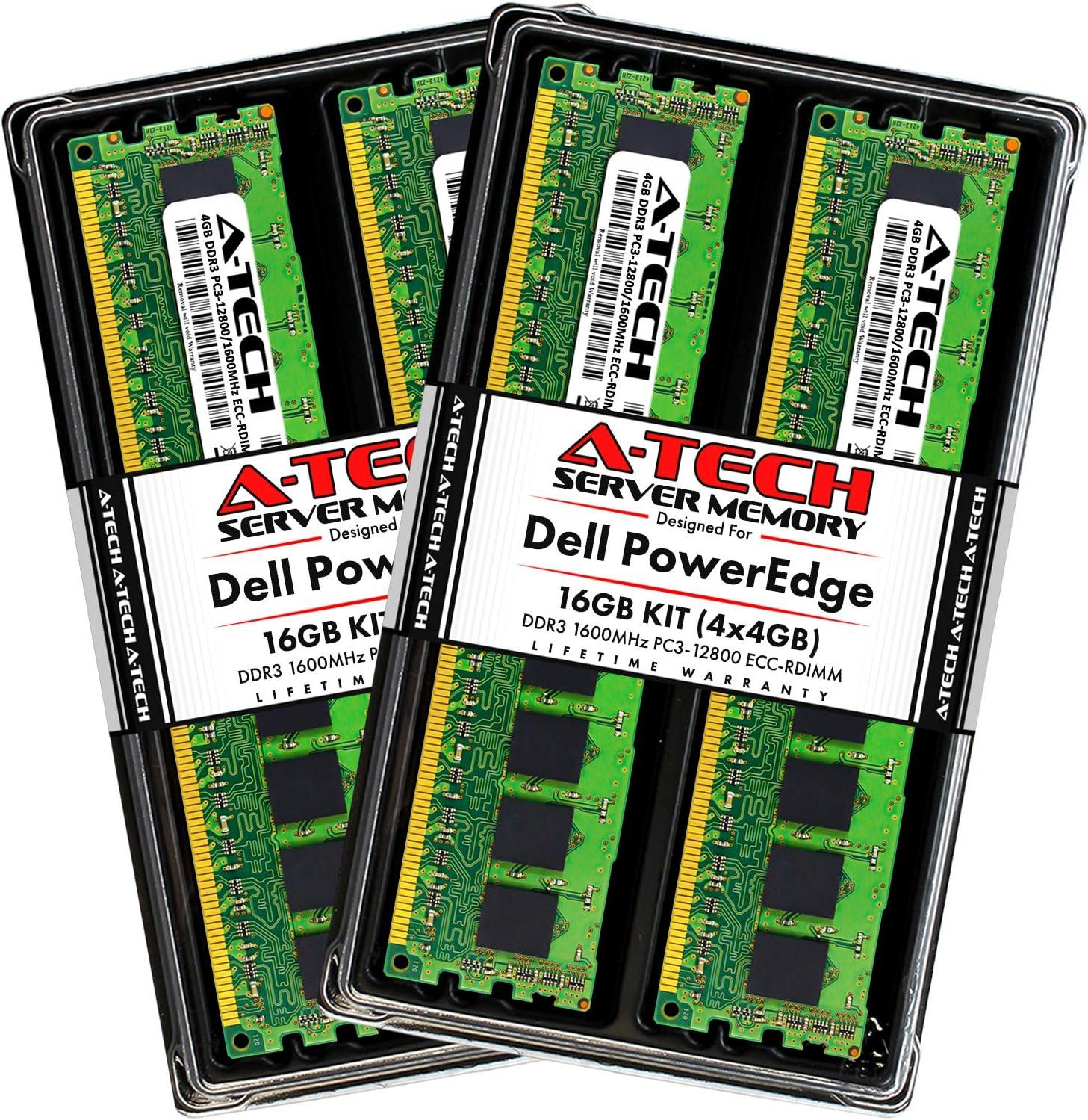A-Tech 16GB (4x4GB) RAM for Dell PowerEdge R320, R420, R420XR, R520, R620, R720, R720XD, R820, R920 | DDR3 1600MHz ECC-RDIMM PC3-12800 1Rx4 1.5V ECC Registered DIMM Server Memory Upgrade Kit