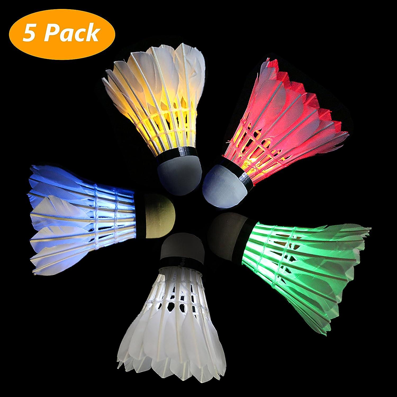 Paquete de 5 Bádminton Shuttlecock LED, 5 Colores Shuttlecock Dark Night Goose Pluma Brillo Birdies Iluminación para Actividades Deportivas al Aire Libre y en el Interior PhilonextOfficial