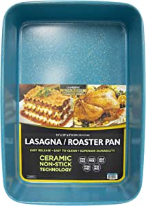 casaWare 15 x 10 x 3-Inch Ultimate Series Commercial Weight Ceramic Coated Non-Stick Lasagna/Roasting Pan (Blue Granite)