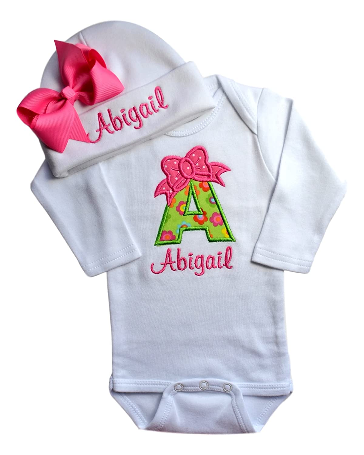 44a2d7e6e6e 100% Ringspun Combed Interlock Cotton Long Sleeve Bodysuit Onesie with  Matching Grosgrain Bow Hat Proudly Embroidered in Massachusetts