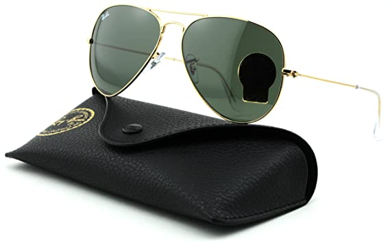 ray ban green glass golden frame  ray ban rb3025 aviator large metal unisex aviator sunglasses (gold frame/grey green