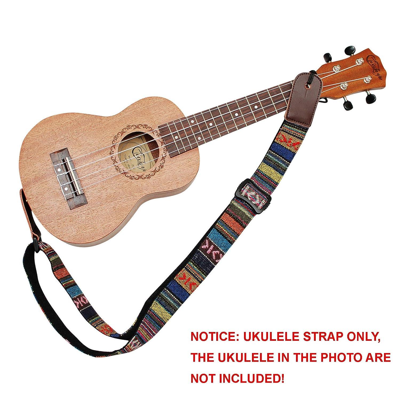 MUSIC FIRST Classic Country style Soft Cotton & Genuine Leather Ukulele Strap Ukulele Shoulder Strap Version 2.0 WSDM-U-STP018