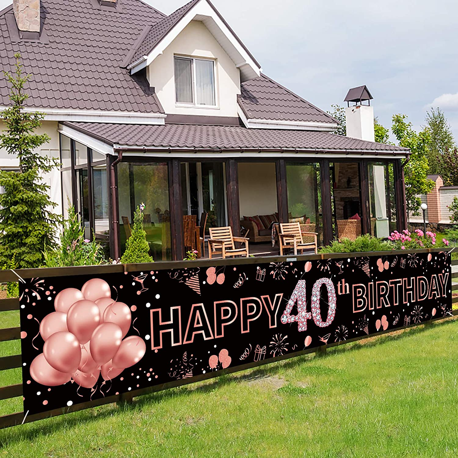 Pimvimcim 40th Birthday Banner Decorations for Women, Rose Gold Happy 40 Birthday Sign Supplies, Large 40 Years Old Sign Decor, Forty Birthday Photo Booth Backdrop(9.8x1.6ft)