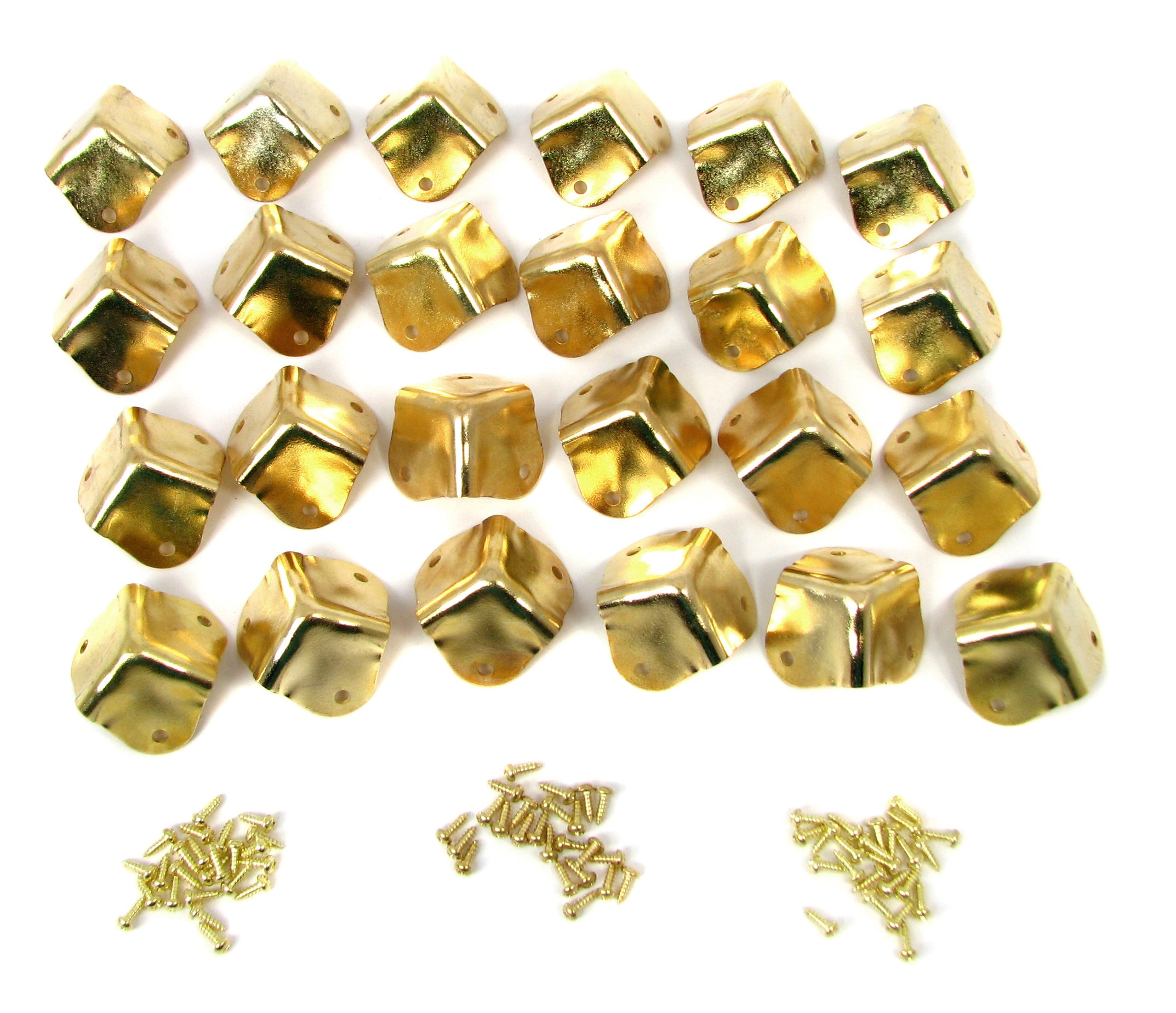 24pcs. Heavy Duty Square Brass-plated Box Corners with Mounting Screws