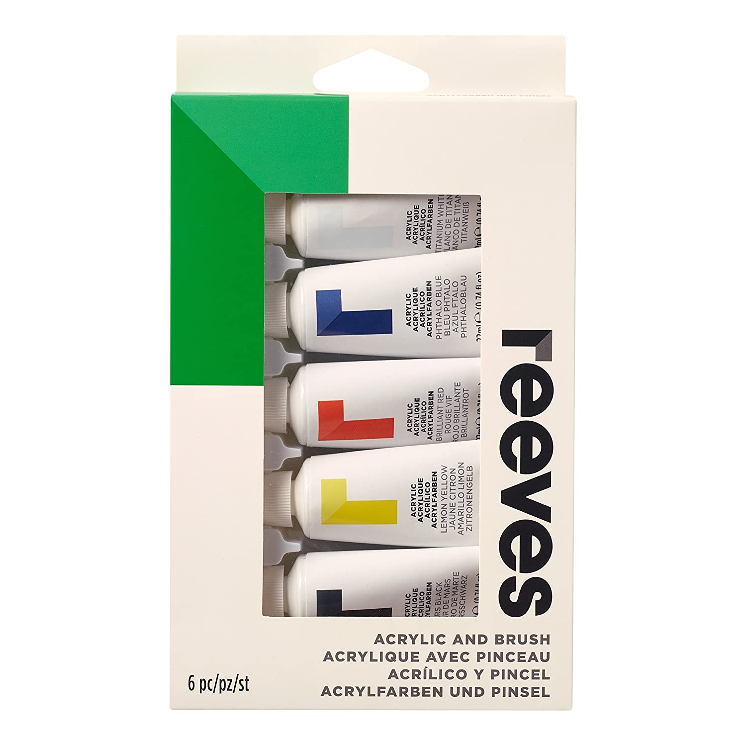 Reeves Acrylic Paint, Brush and Tube Set - 6 Pieces, multicolour ColArt 4910223