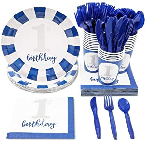 Boys First Birthday Party Supplies – Serves 24 – Includes Plates, Knives, Spoons, Forks, Cups and Napkins. Perfect 1st Birthday Party Pack for Kids Boy Birthday Themed Parties.
