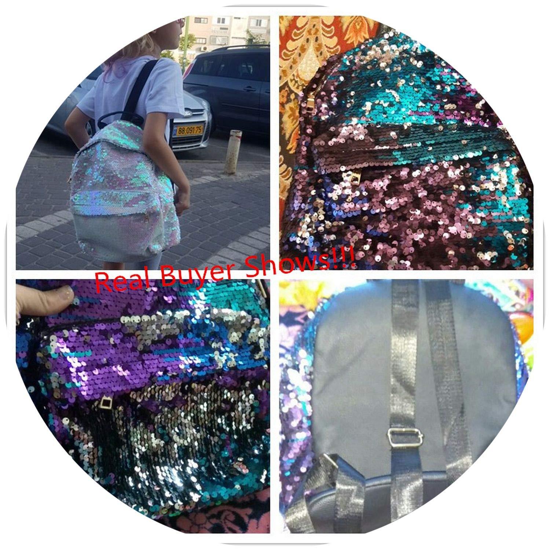 on Crful Sequ Design Backpack For Teenage Girls PU Leather Small Backpack Fe Shoulder Bag