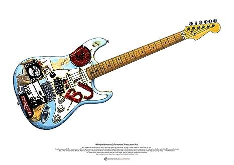 Billie-Joe Armstrong Fernandes Stratocaster Blue ARTE cartel A2 tamaño