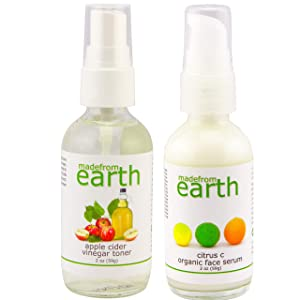 Nature's Vitamin C Facial Set with Apple Cider Vinegar Toner + Vitamin C Citrus Moisturizing Serum Kit