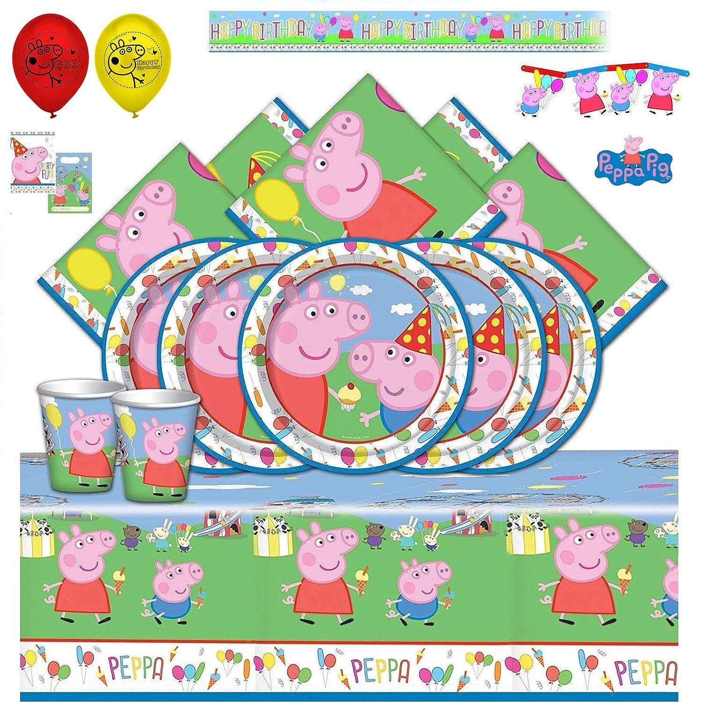 Booghe Peppa Pig Carnival - Kit de Fiesta de cumpleaños Infantil con Suministros de vajilla para 8,16, 24 o 32 Invitados (Ultimate Kit For 16 Guests)