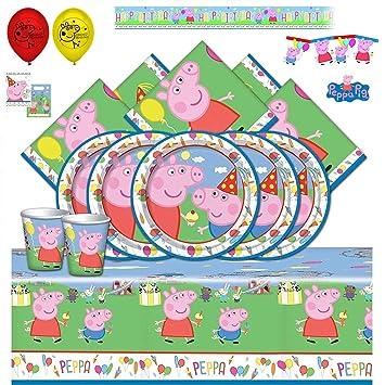 Booghe Peppa Pig Carnival - Kit de Fiesta de cumpleaños Infantil con Suministros de vajilla para 8,16, 24 o 32 Invitados (Ultimate Kit For 24 Guests)