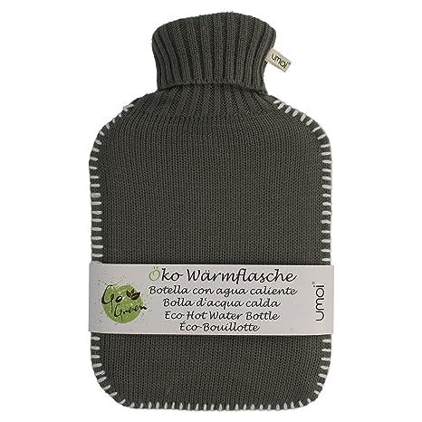 Umoi Bolsa de agua caliente, ecológica, 2 L, con bonita funda de punto de color gris y costuras blancas, certificado BS1970:2012, modelo 2018