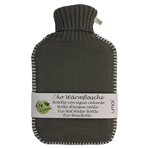 UMOI Öko Wärmflasche 2 Liter mit hübschem Strickmuster in Grau und ...