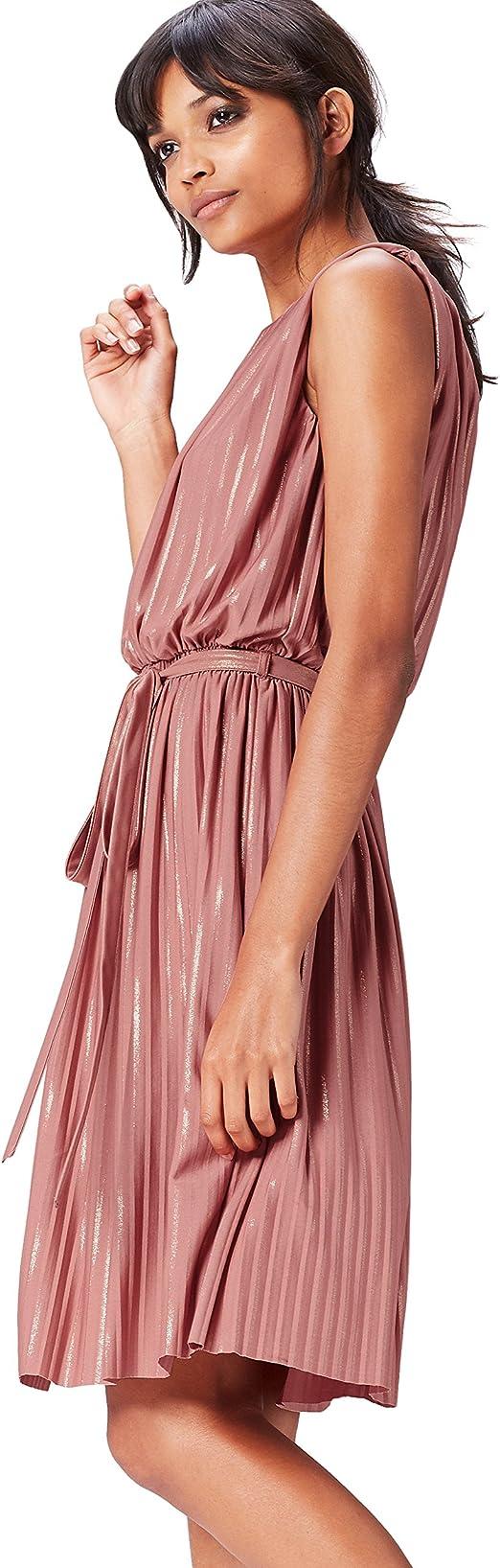 TALLA 46 (Talla del fabricante: XX-Large). Marca Amazon - find. Vestido Plisado de Rayas Metalizadas para Mujer Rosa (Old Rose/Gold) 46 (Talla del fabricante: XX-Large)