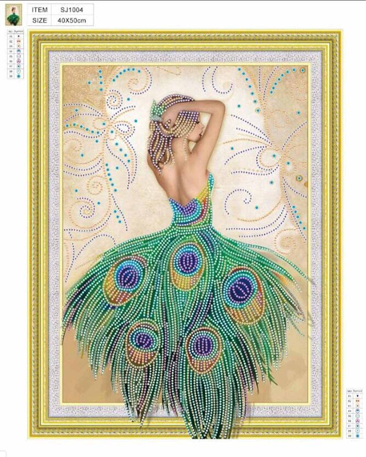 5D DIY Partial Drill Crystal Rhinestone Embroidery Cross Stitch Home Wall D/écor Arts Craft Canvas,Peacock Lady,15.75 x 19.68 inch KoKoWill Special Shaped Diamond Painting Kits for Adults