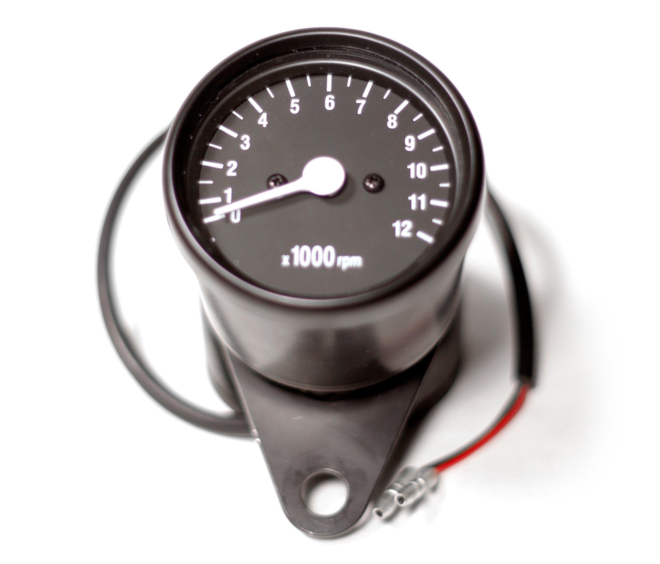 Universal 2.5'' Black Mini Motorcycle Tachometer Gauge w/ Black Face (1:4 Ratio)