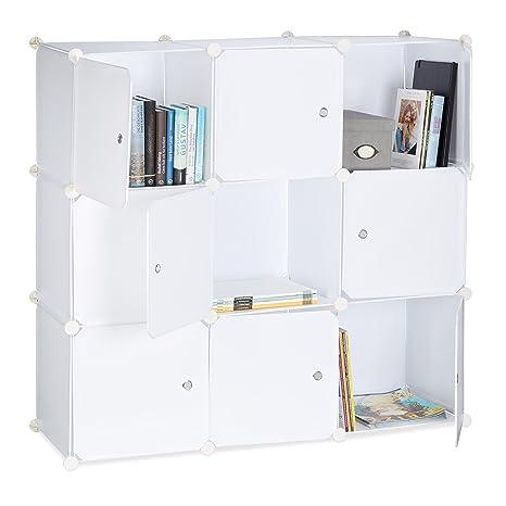 Relaxdays Regalsystem Mit Türen Raumteiler Kunststoff Standregal 9 Fächer Badregal Offen Hbt 95 X 95 X 32 Cm Weiß