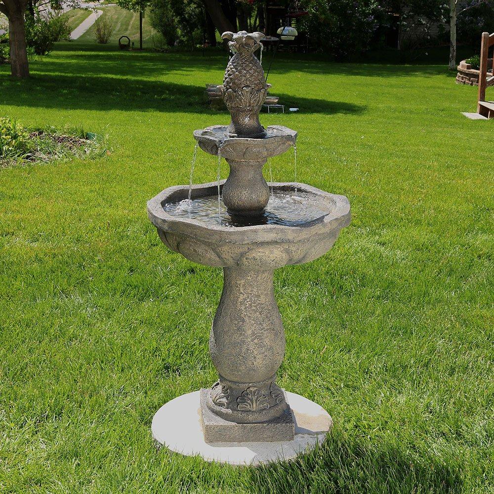 Sunnydaze Button Shell Pineapple 2-Tier Outdoor Water Fountain, 40 Inch
