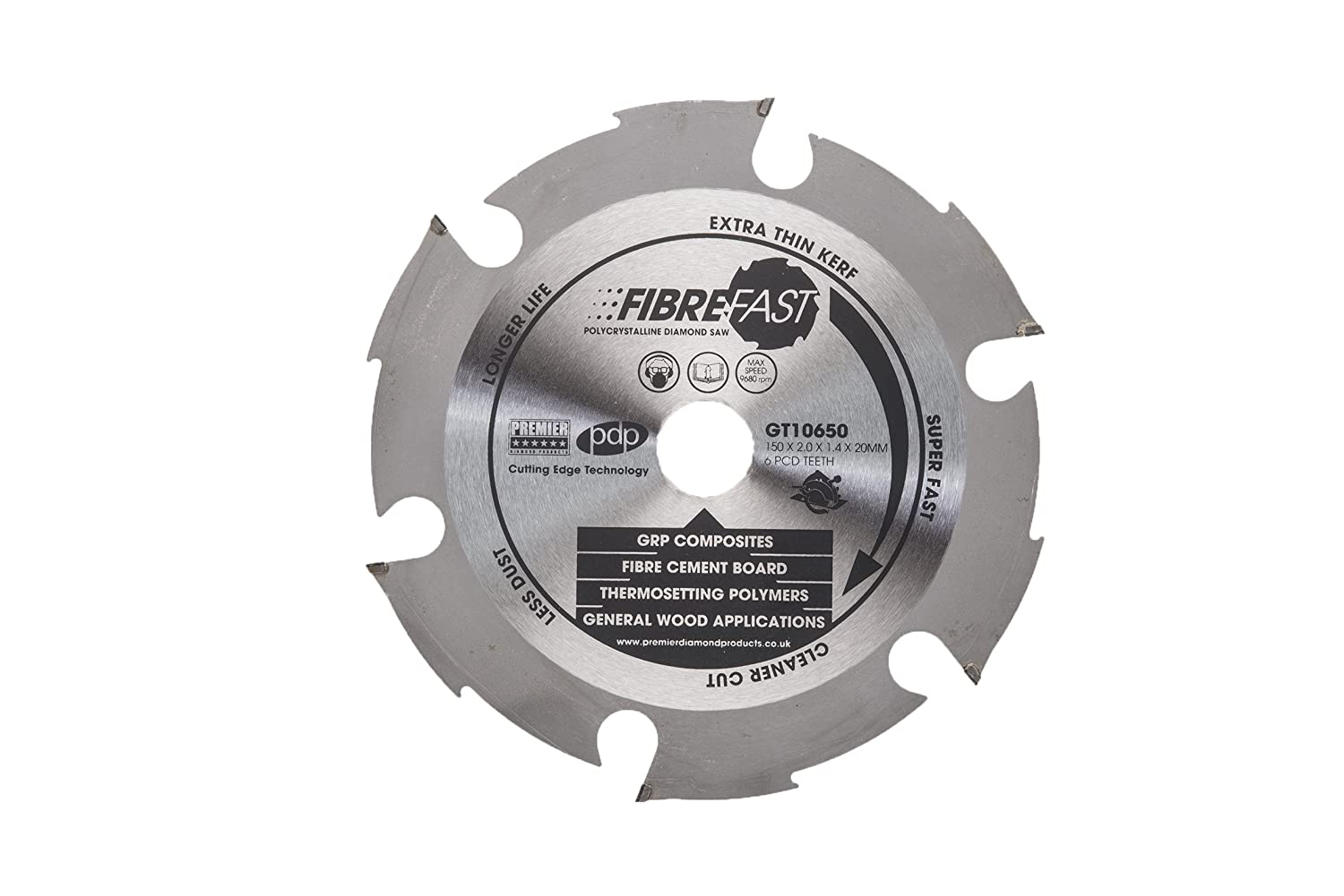 Premier Diamond GT10675 P5-PCD FIBREFAST 12 Teeth Polycrystalline Blade for Fibre Cement Board Silver 300 x 30 mm