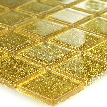 Glasmosaik Mosaikfliesen Gold Glitzer: Amazon.de: Baumarkt