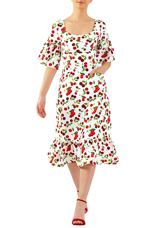 Pin Up Dresses | Pin Up Clothing eShakti Womens Cherry print crepe ruffle flounce hem dress $62.95 AT vintagedancer.com