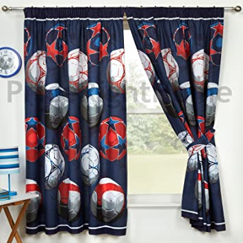 Blue Football Curtains 66quot X 72quot