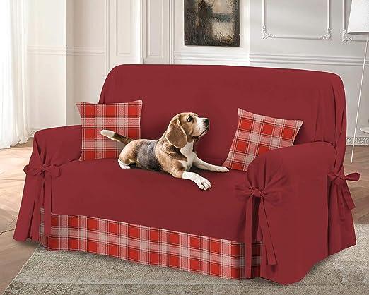 HomeLife – Funda de sofá de 2 o 3 plazas – Funda de sofá de color liso con