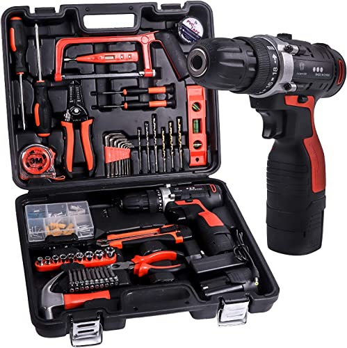 JAR-OWL Power Tools Combo Kit, 16.8V Cordless Drill Driver Tools With 60 Accessories for Home Daily Cordless Repair Tool Kit Set Red Red