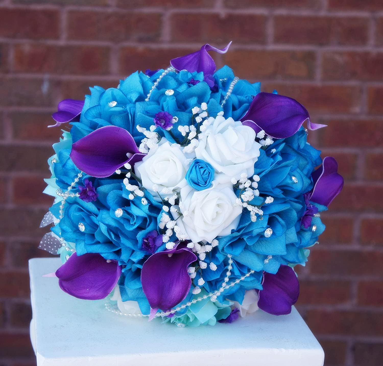 Amazon.com: 2pc Set : Wedding Bouquet & Boutonniere - Turquoise ...