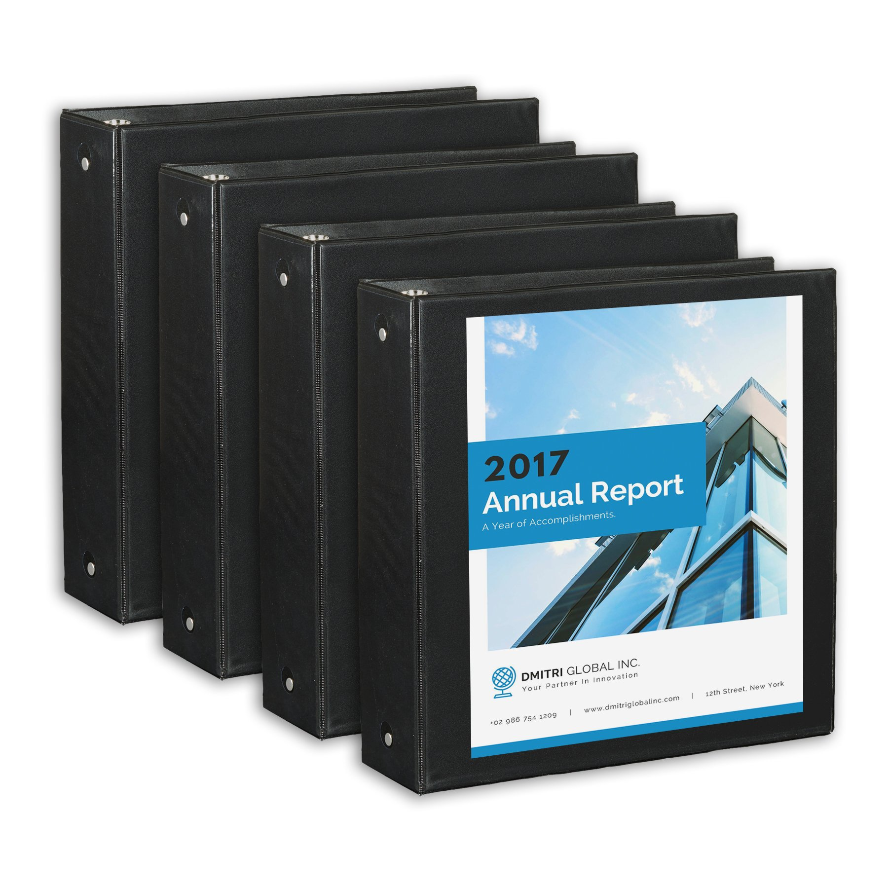 4 Pack 2'' 3-Ring Binders, Rugged Design for Home, Office, and School-for 8.5'' x 11'' Paper, 4 Binders (Black)